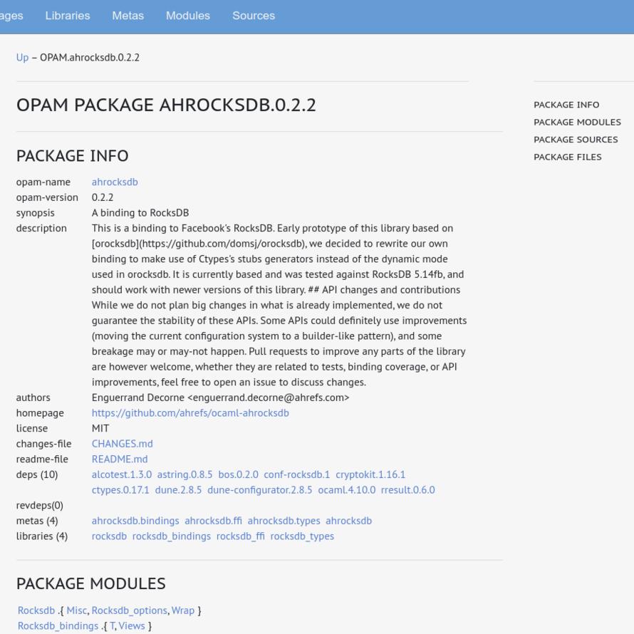 OCamlPro OCaml Documentation Hub Package Info for AHROCKSDB.0.2.5